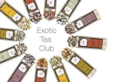 """Multiple different bags of tea leaves spilling out in a circle around the worlds """"exotic tea club"""""""