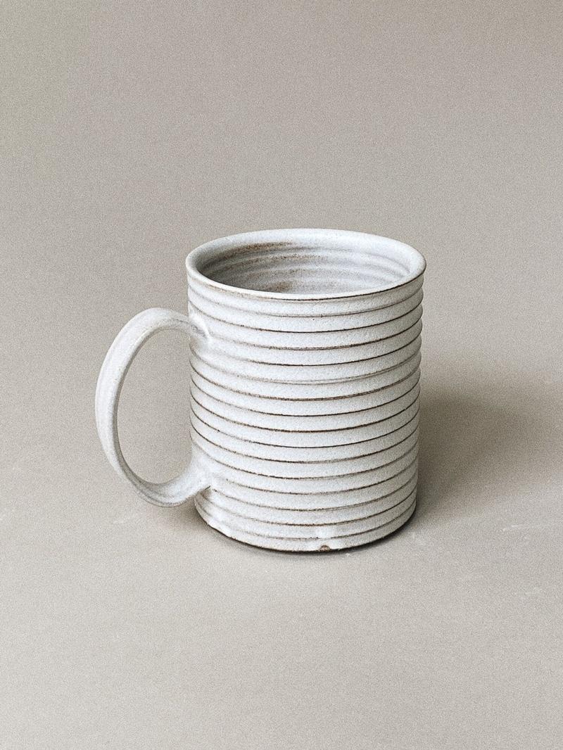 Ribbed white ceramic Bombabird Ceramics coffee mug