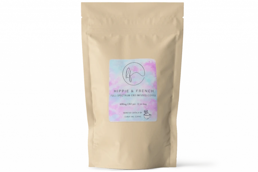 A bag of coffee grounds from Hippie & French