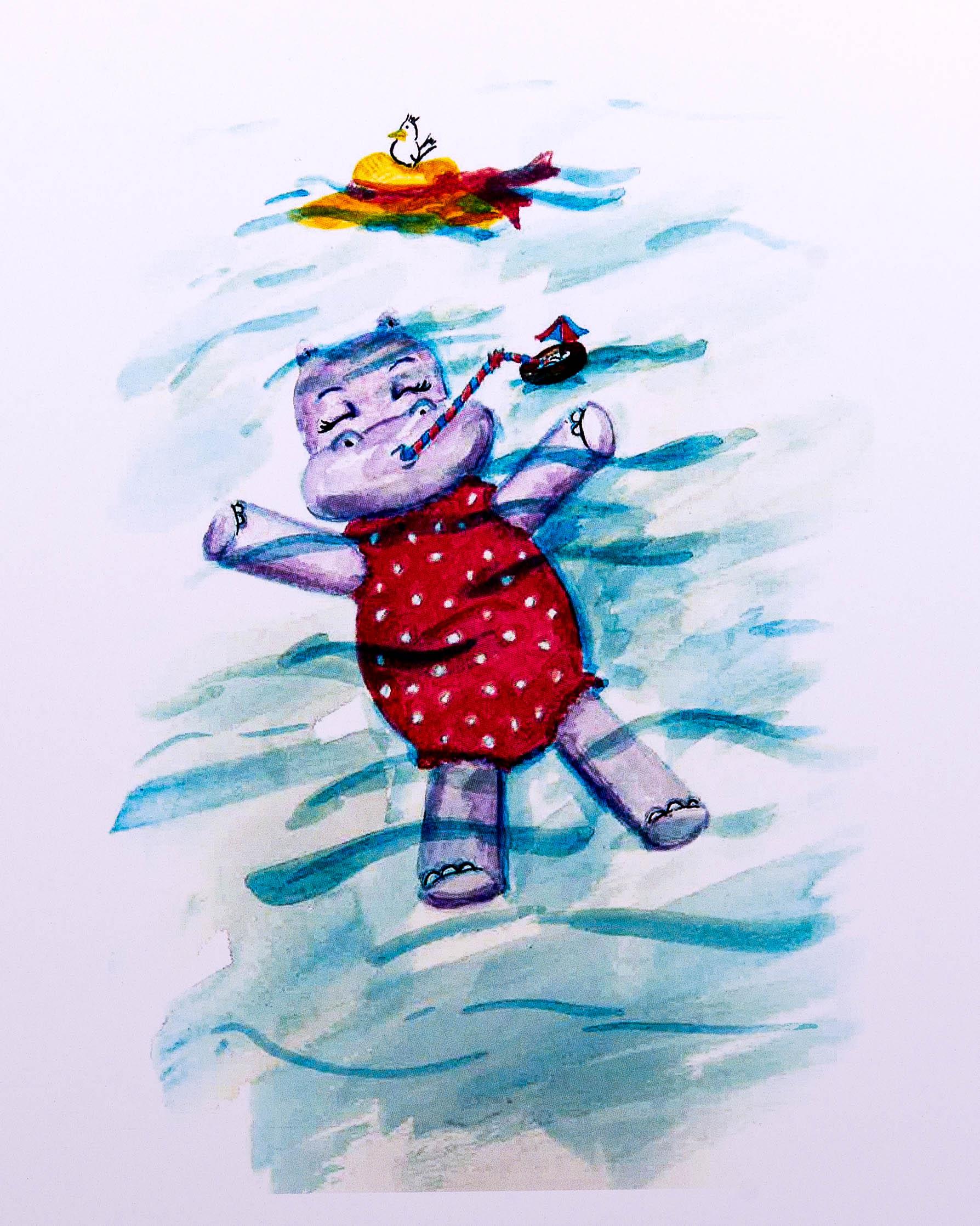 "Floating Phoebe the Hippo ""Happy Phoebeâ€"
