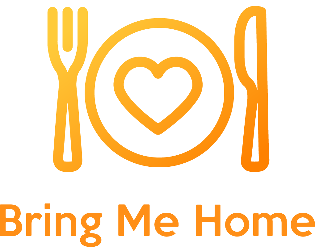 Bring Me Home's logo. A fork, a plate with a heart icon on it and a knife.