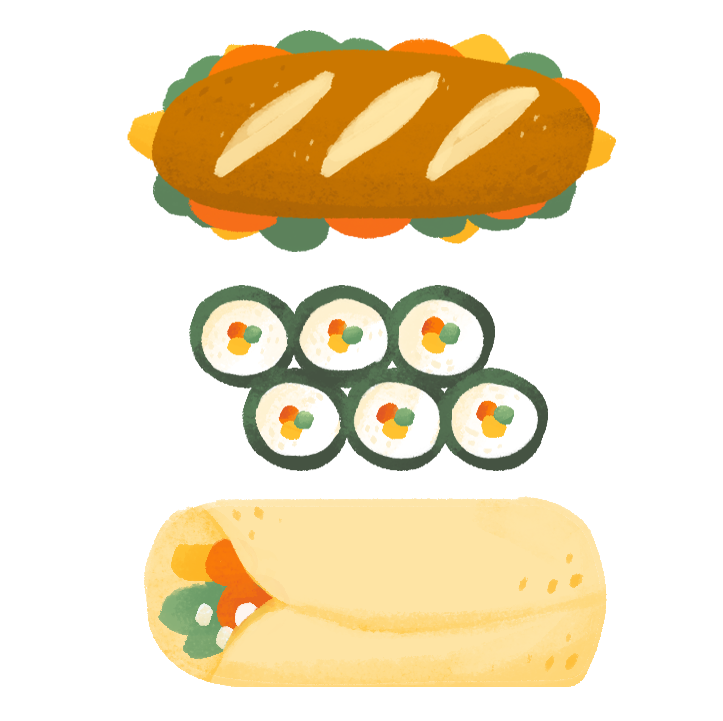 A sandwich, some sushi and burrito arranged in a column.