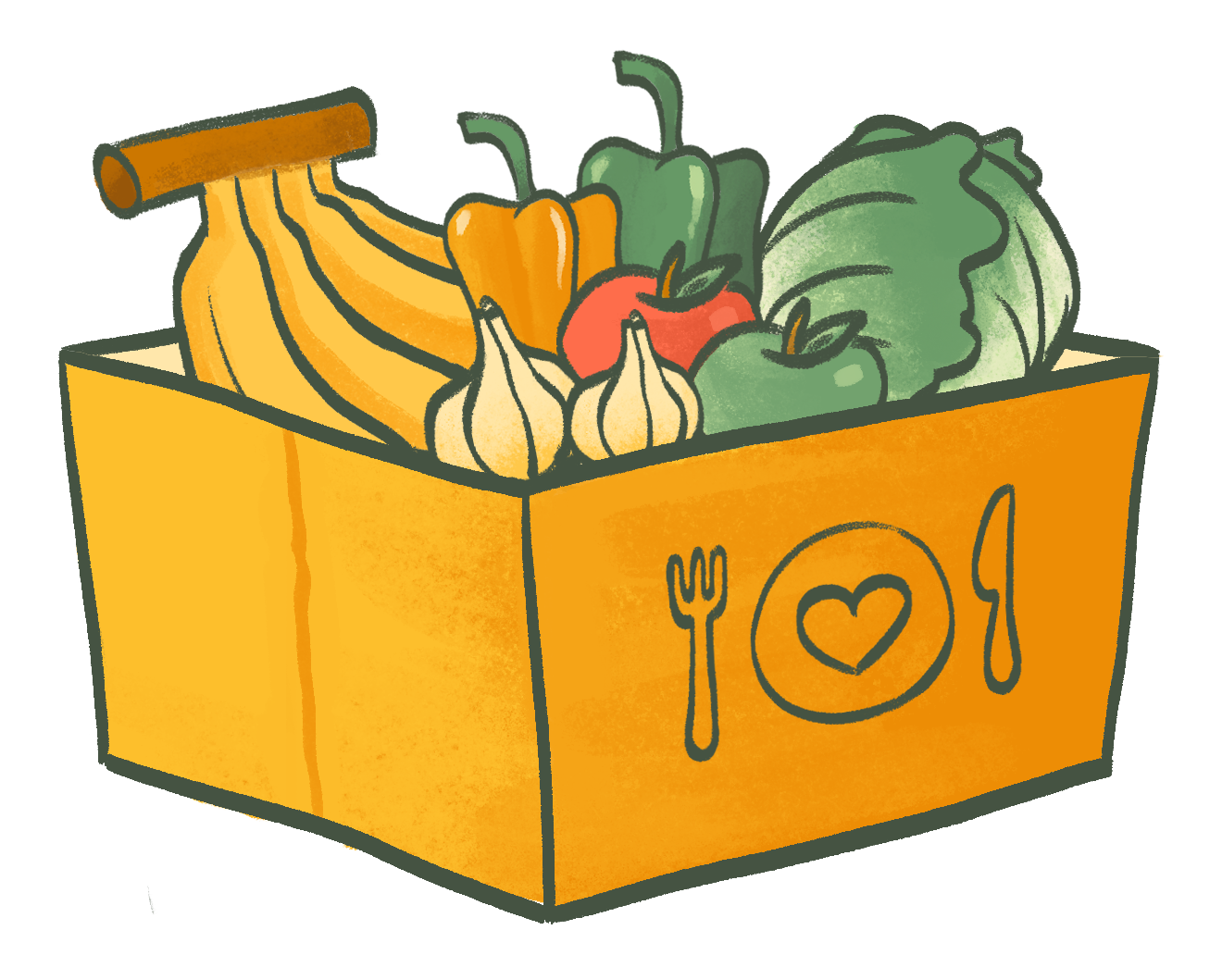 A box of fruit and veg