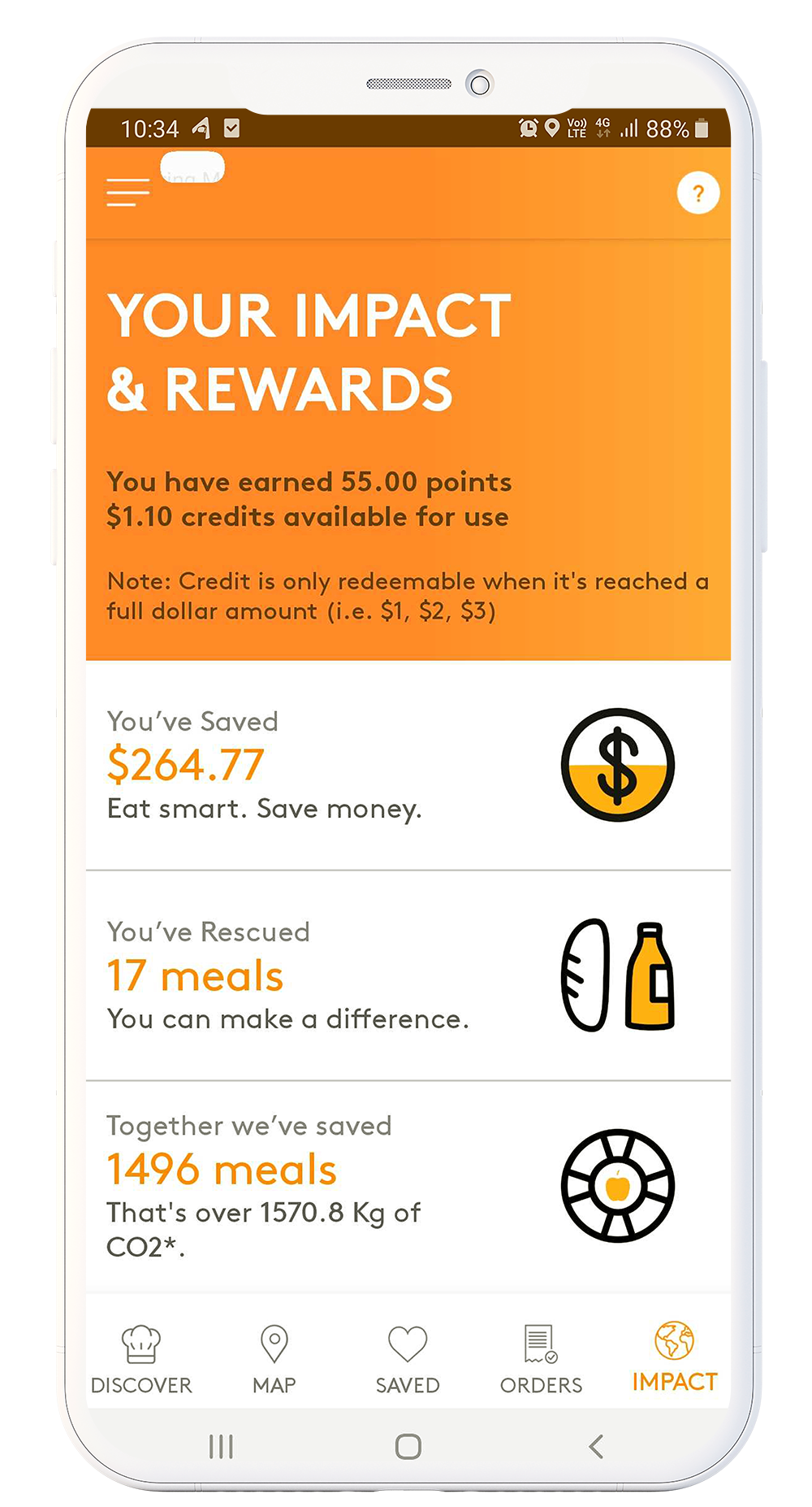 An app mockup showing the app's Rewards page.