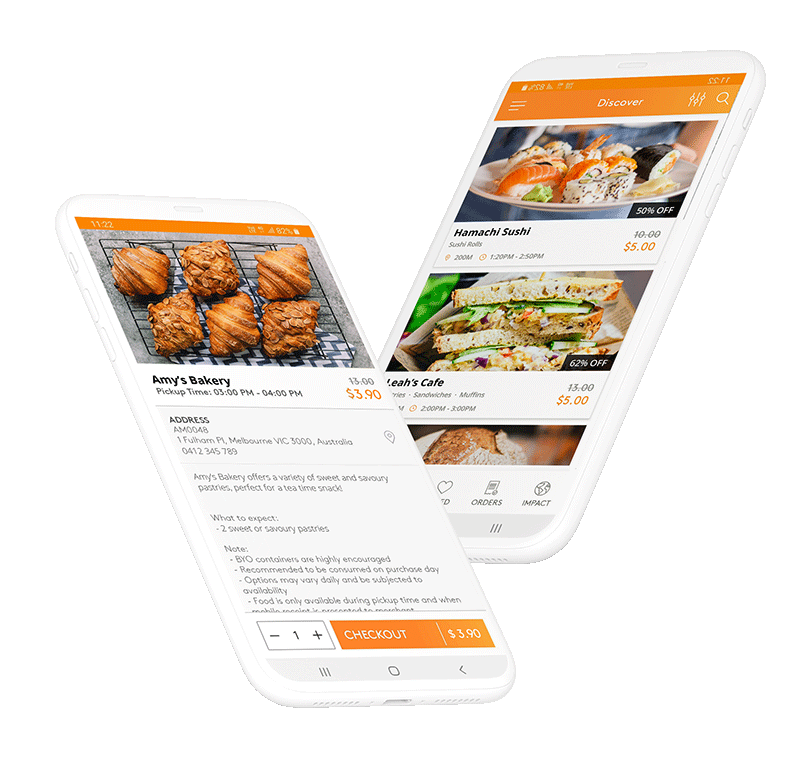Two mockups of the app home screen