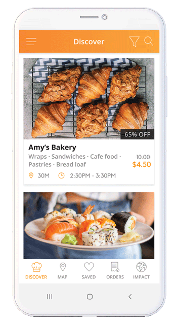 A mockup of the app home screen, showing all the food listings.