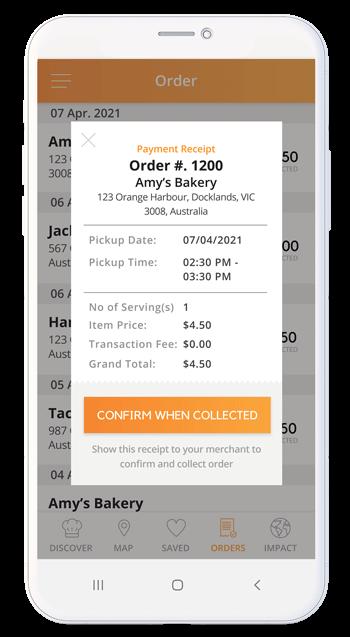 An app mockup showing the app's receipt.