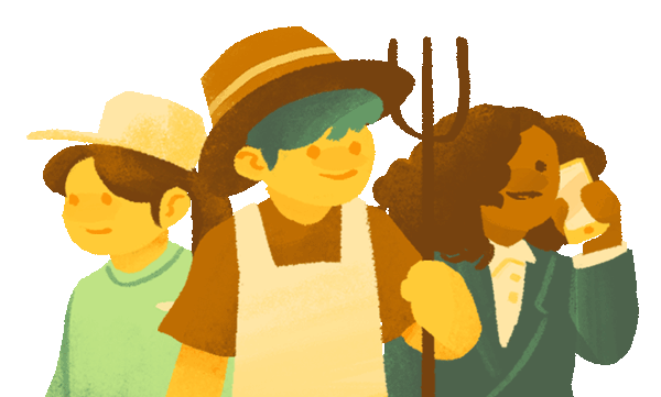 A retail staff, farmer and business person standing side by side.