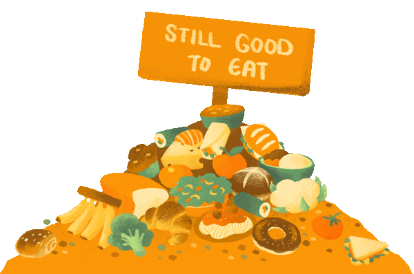 """A pile of food waste with a sign saying """"Still good to eat""""."""