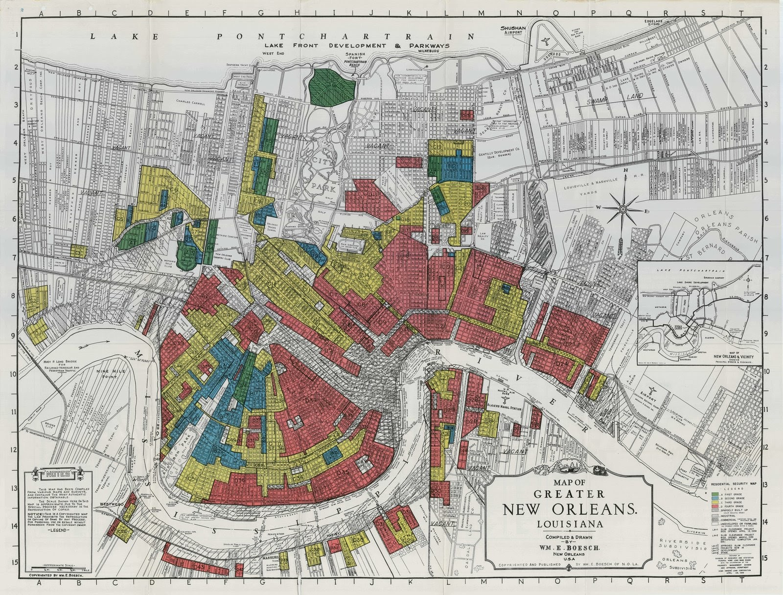 An original HOLC map of New Orleans