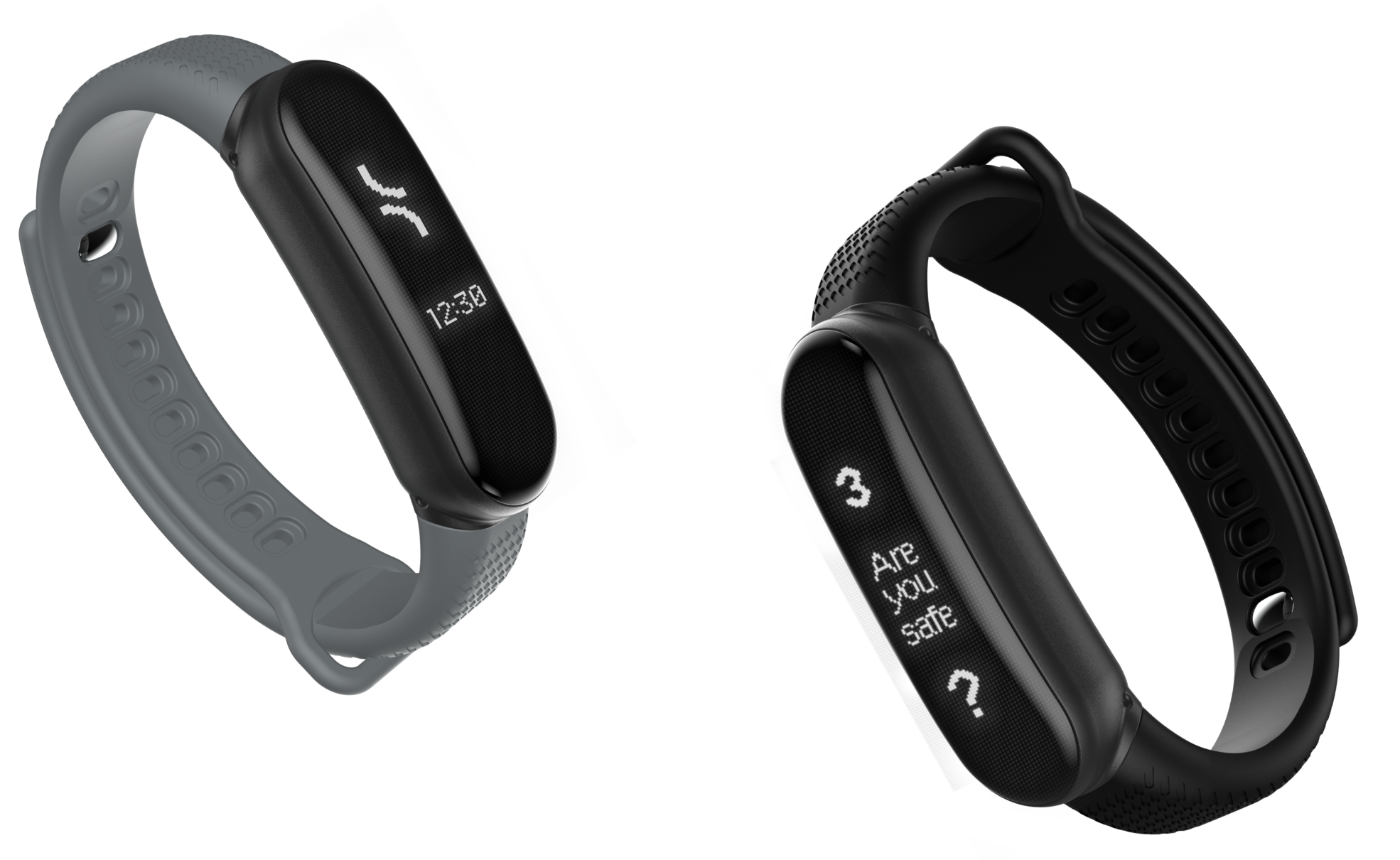 Tended's safety wearables showing the time and check in screens