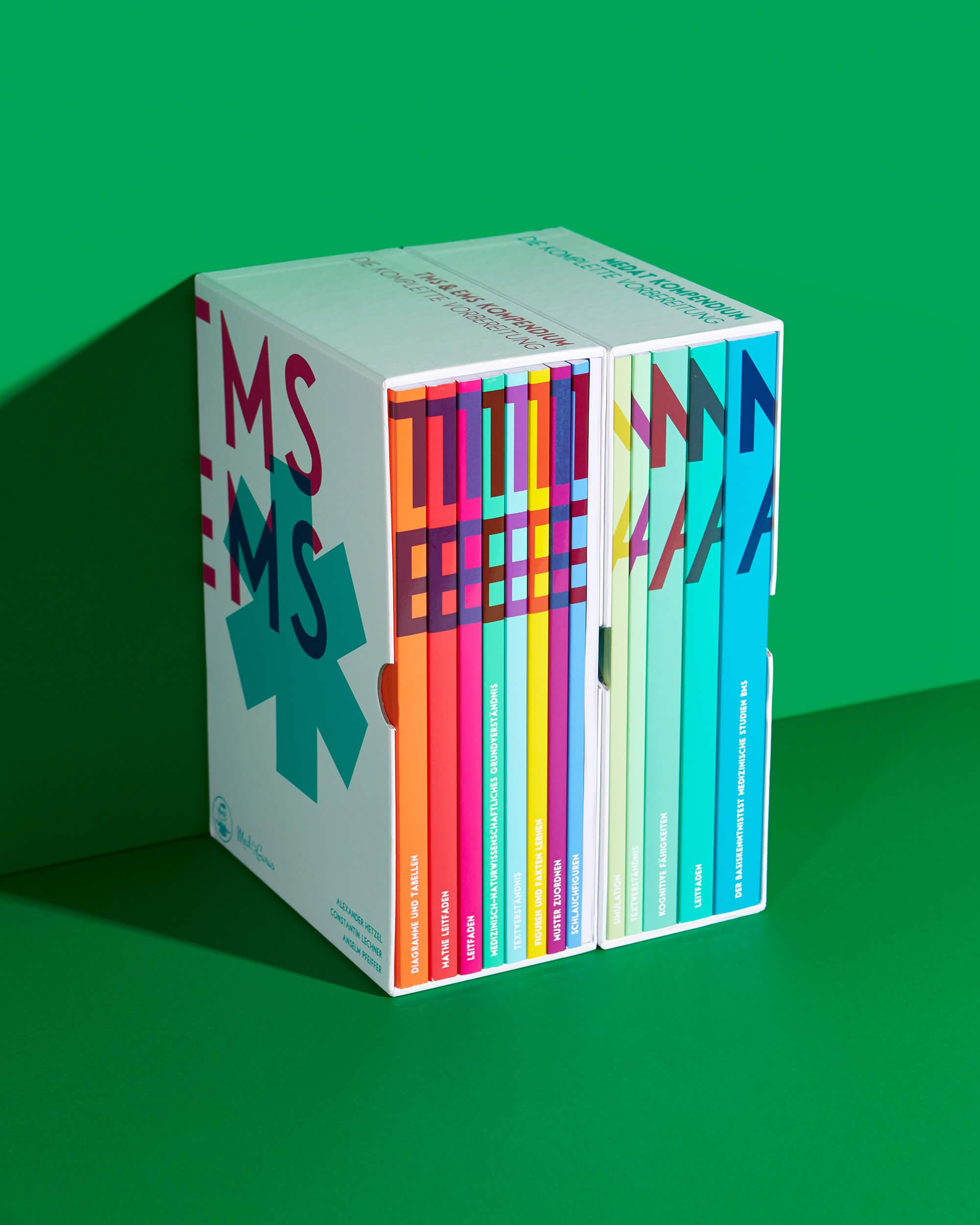 Printdesign der Schuber und Bücher