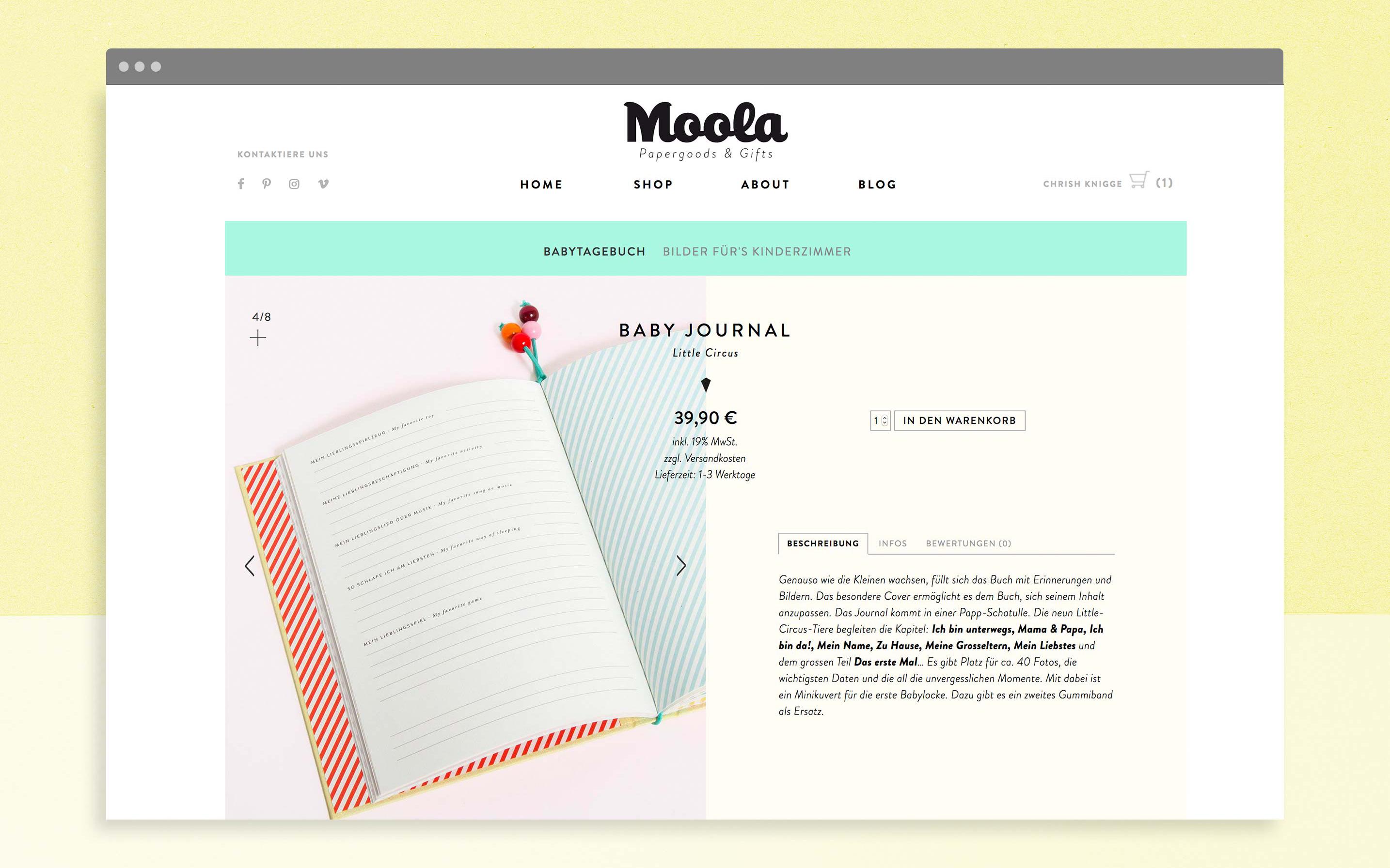 Produktseite der Website