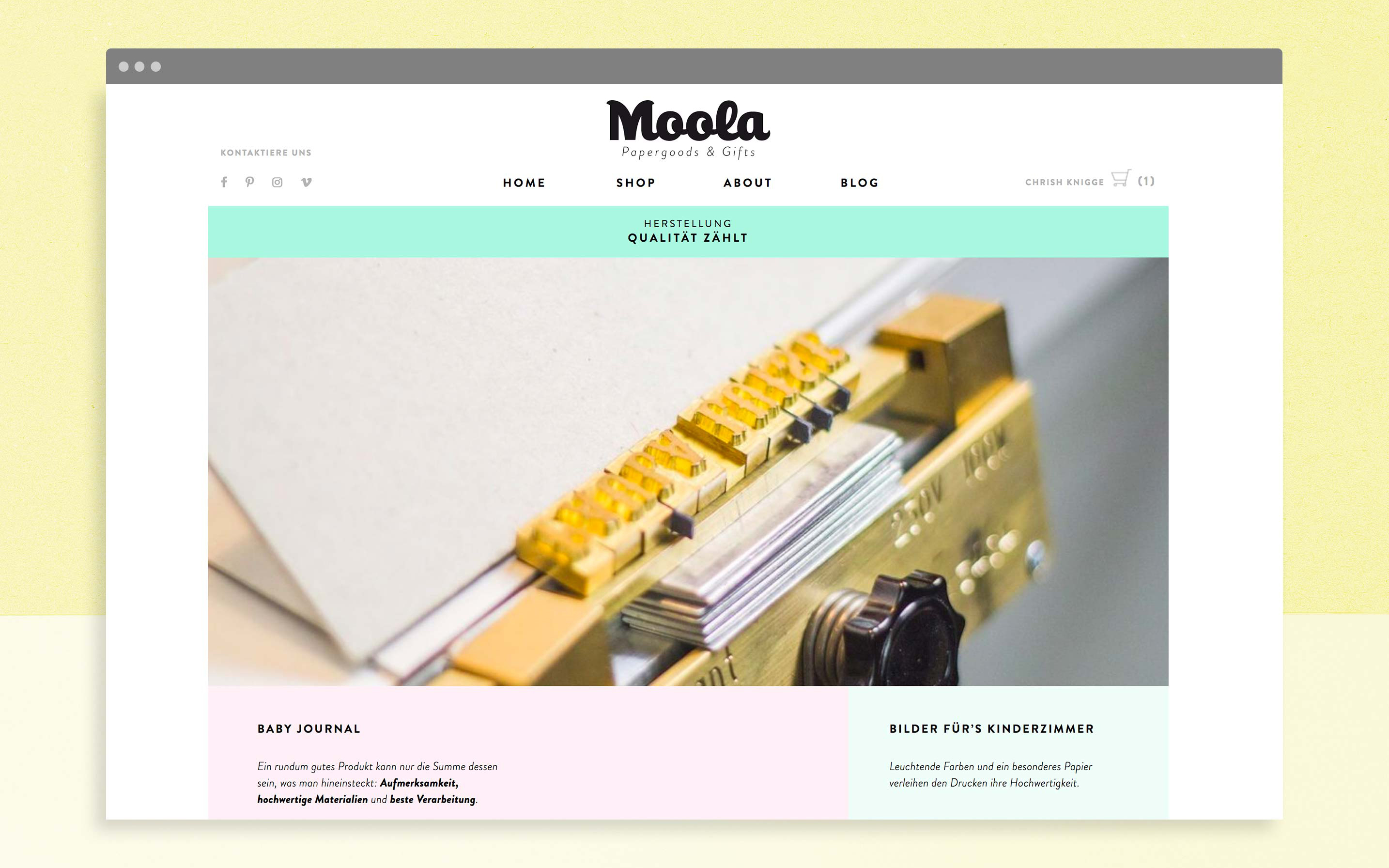 Shop der Website