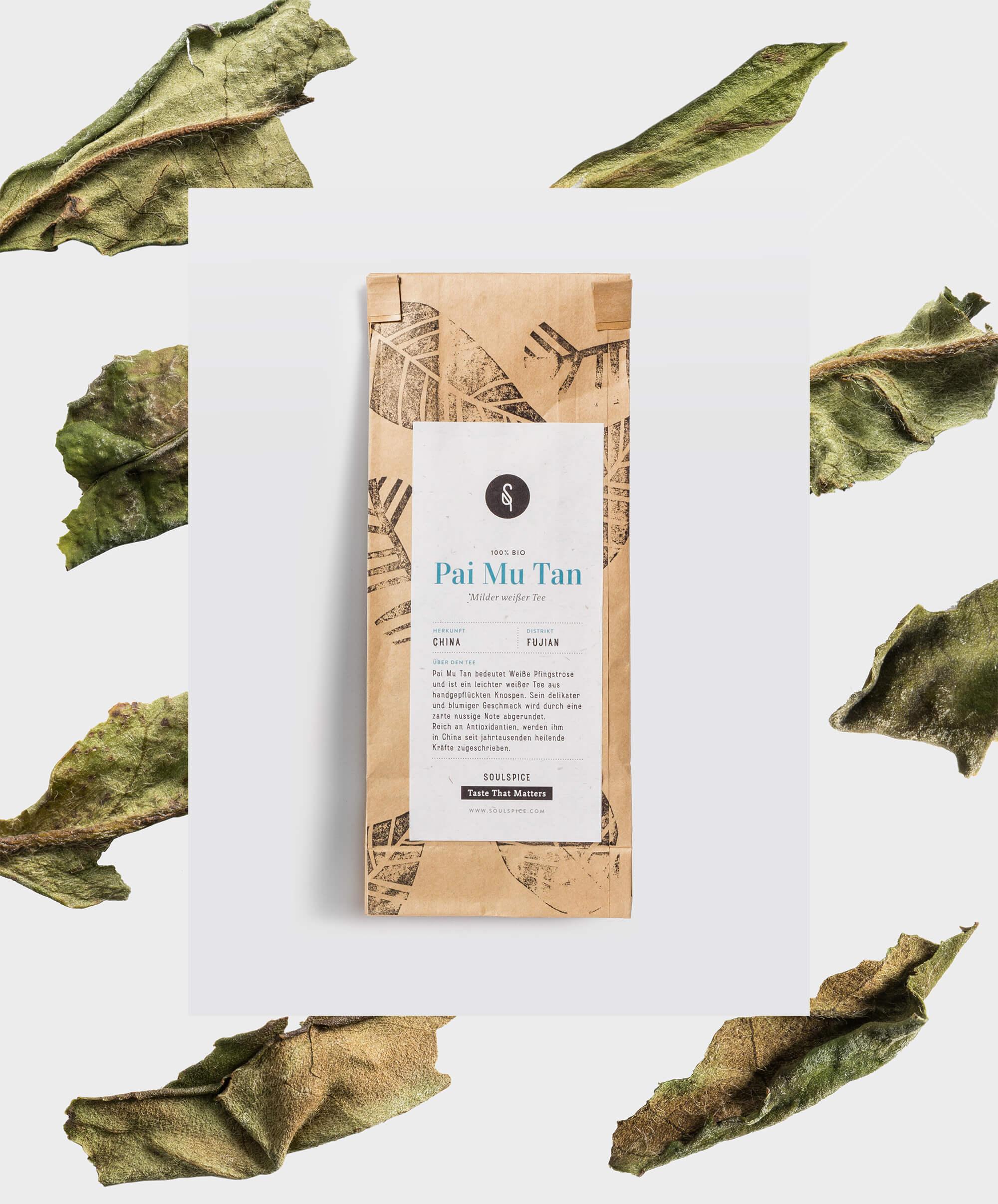 Packaging des Pai Mu Tan Tees