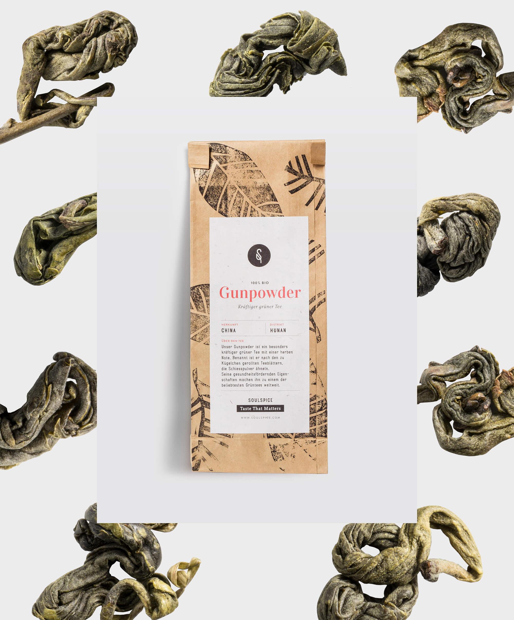 Packaging des Gunpowder Tees