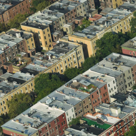 aerial view of NYC apartment bguildings