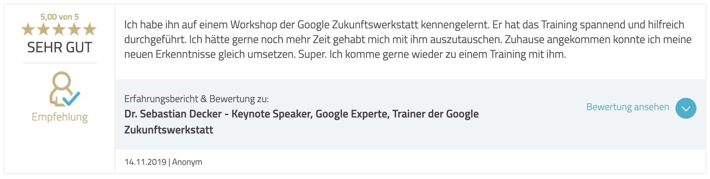 Bewertung Google Ads Academy Teilnehmer