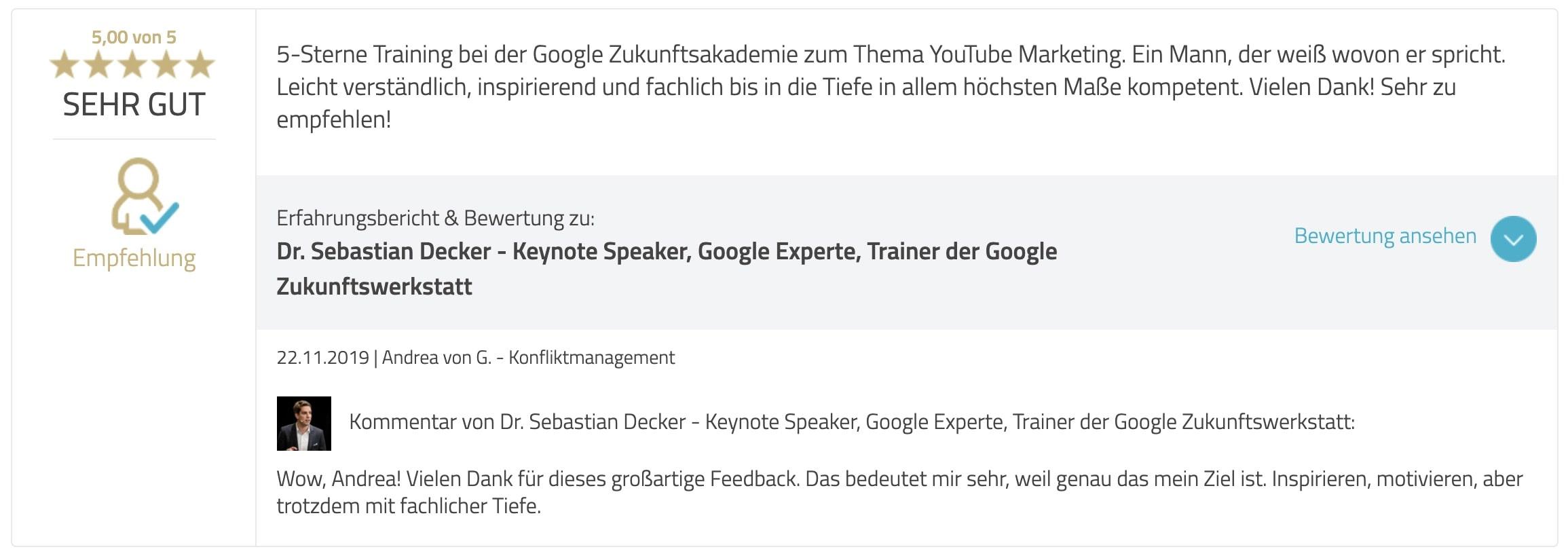 Bewertung Google Ads Academy Andrea