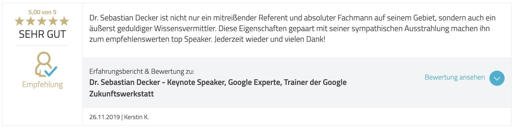 Bewertung Google Ads Academy Sebastian