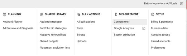 Conversion Tracking In Google Ads Menu Screenshot