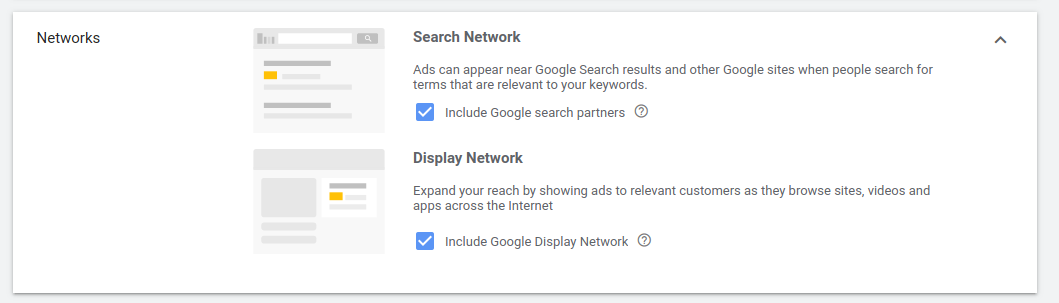 Delivery Network Setting Option For Google Ads Screenshot