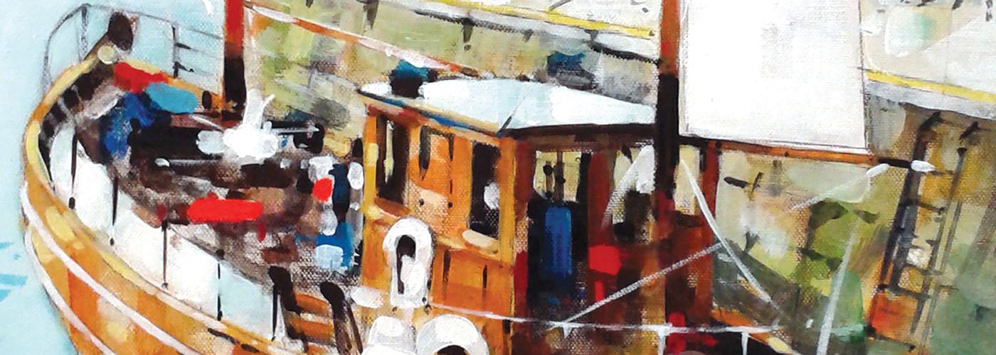 Tobermory, Acrylic on Board by John Gahagan