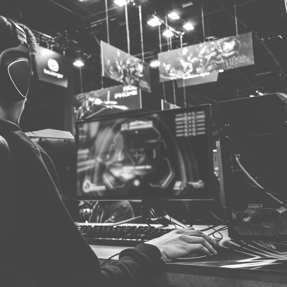 man gaming in a warehouse arena