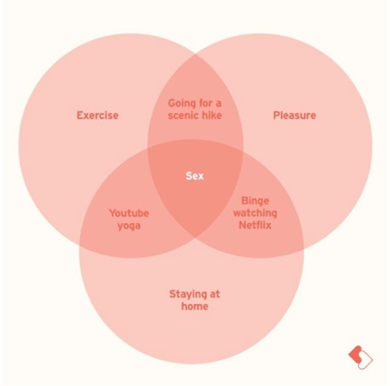 "venn diagram of ""exercise, pleasure, and staying at home"" the overlapping term is sex"