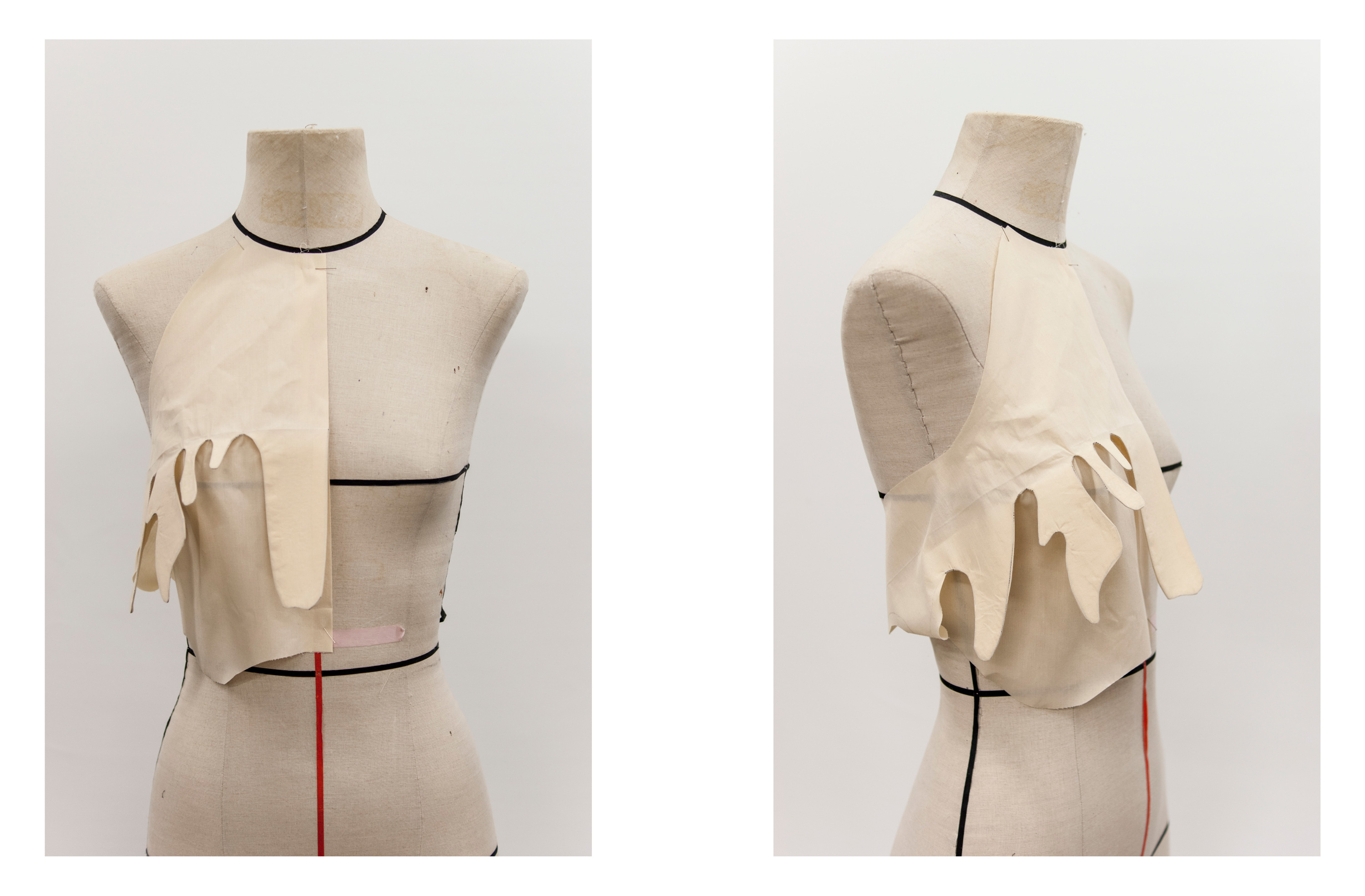 front and front-side view of a partial muslin/prototype for the surrealist blouse - the seam at the bust extends out in a drip shape