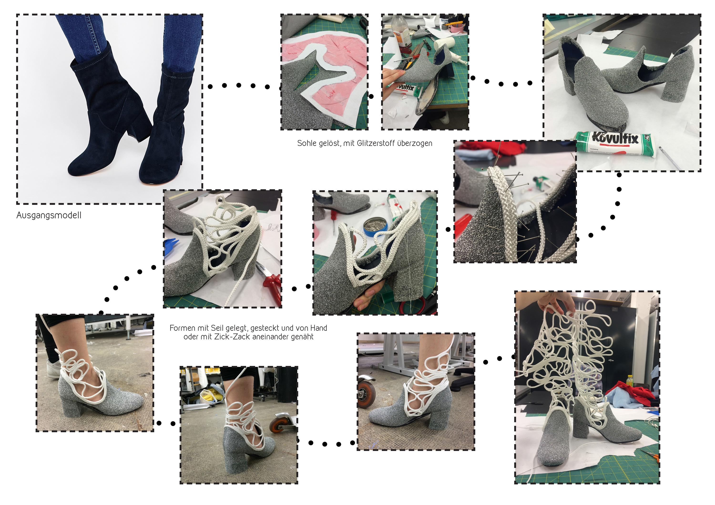 a collage of the making of the glitter shoes, from the base shoe (bought online), to the in-between stages and finished boot