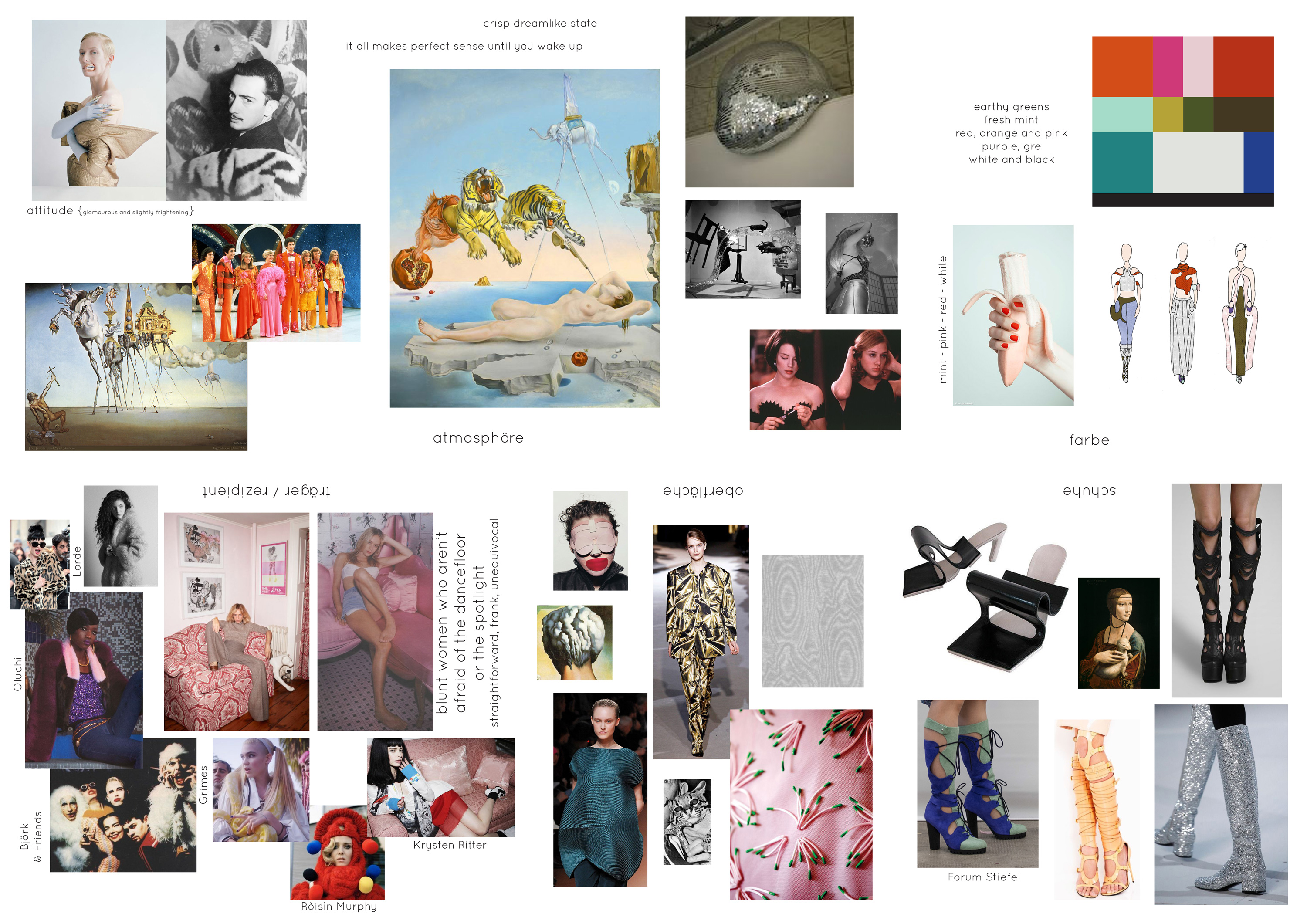 fashion mood board with inspiration images: salvador dali paintings, disco era fashion, chloe sevigny, björk, roisin murphy, krysten ritter, color schemes etc.