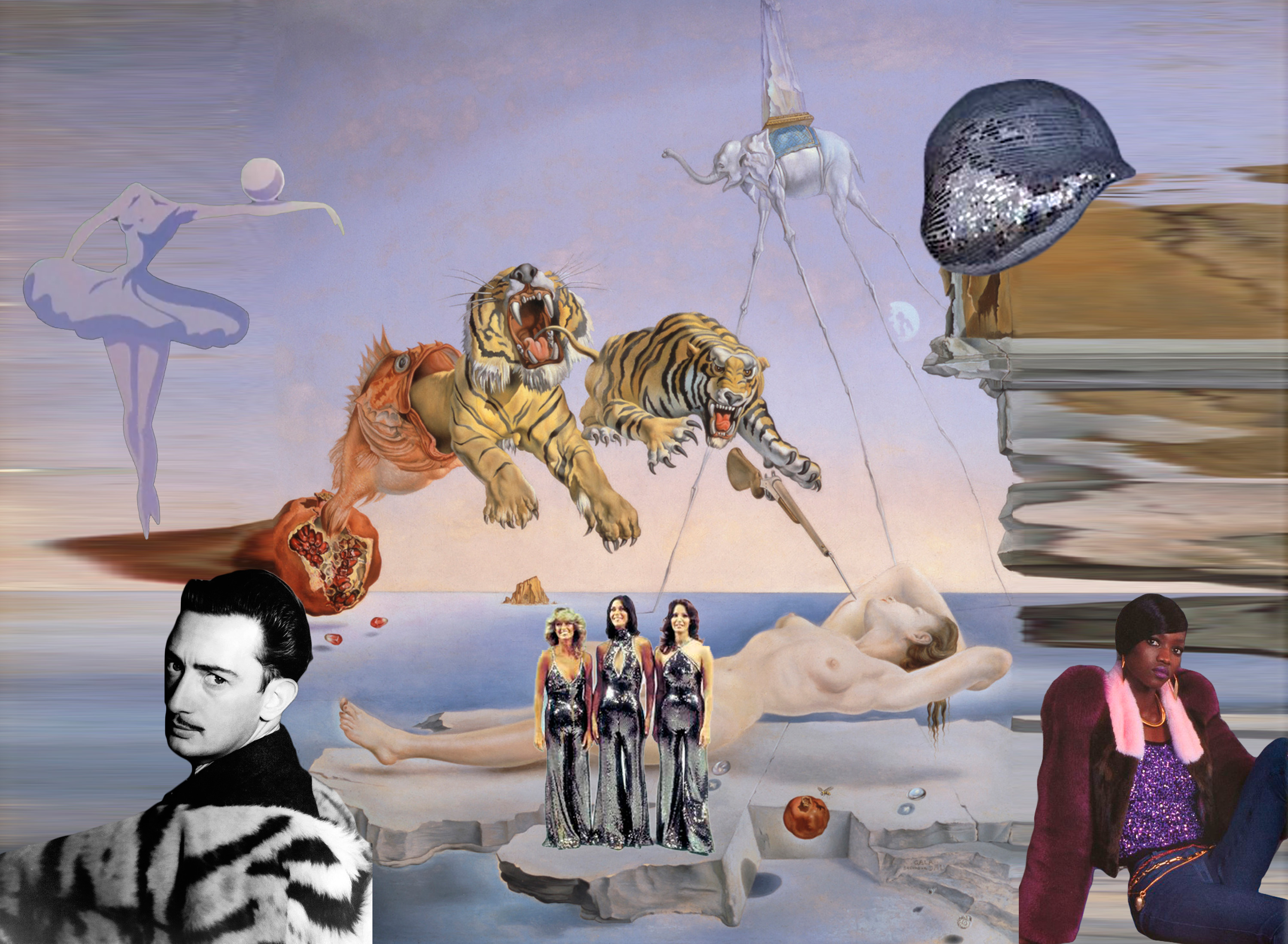 "digital collage consisting of Salvador Dali's painting ""Dream Caused by the Flight of a Bee Around a Pomegranate a Second Before Awakening"", a photo of a young Dali in a fur coat, a melted disco ball, a trio of women in silver 70s jumpsuits, singer Oluchi, and a headless ballet dancer balancing a marble on her arm"