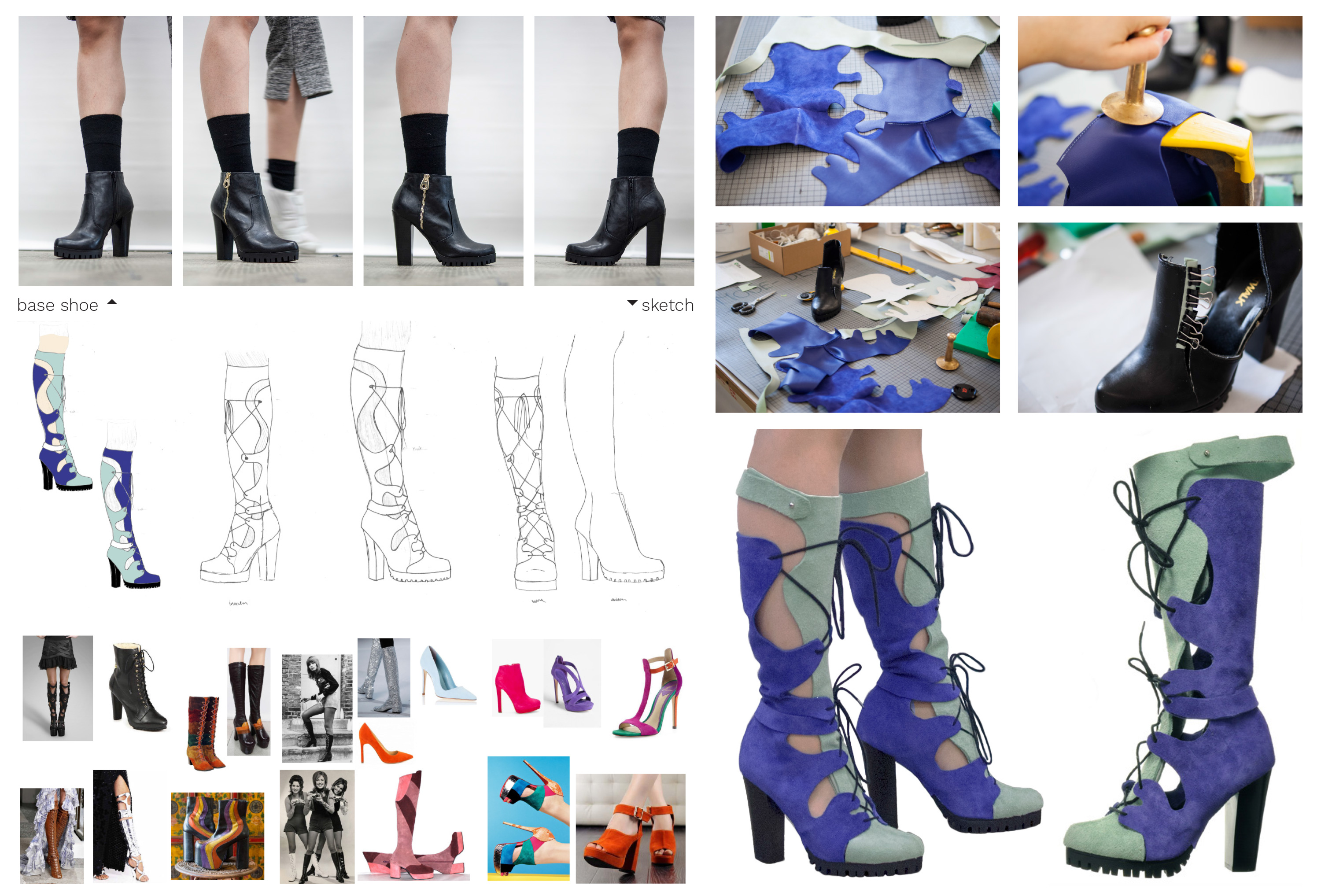 the making of the surreal disco boots, from the original base shoe, to sketches, inspiration images, sewing the leather pieces and the final assembled heeled boots
