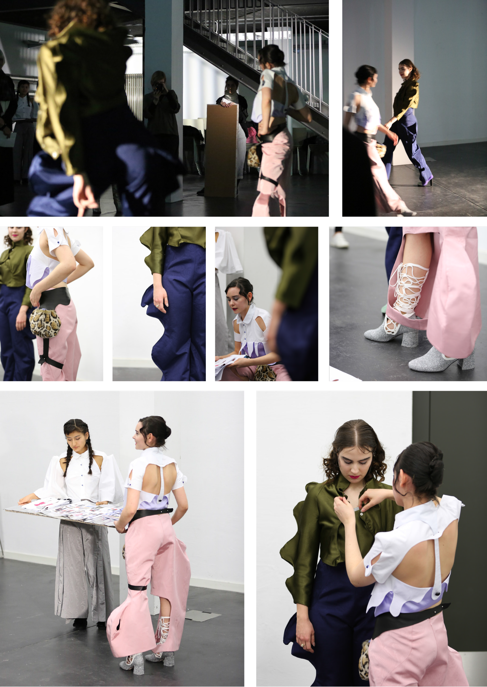 A collage of images taken at the presentation of the semester project, featuring detail shots of the two looks.