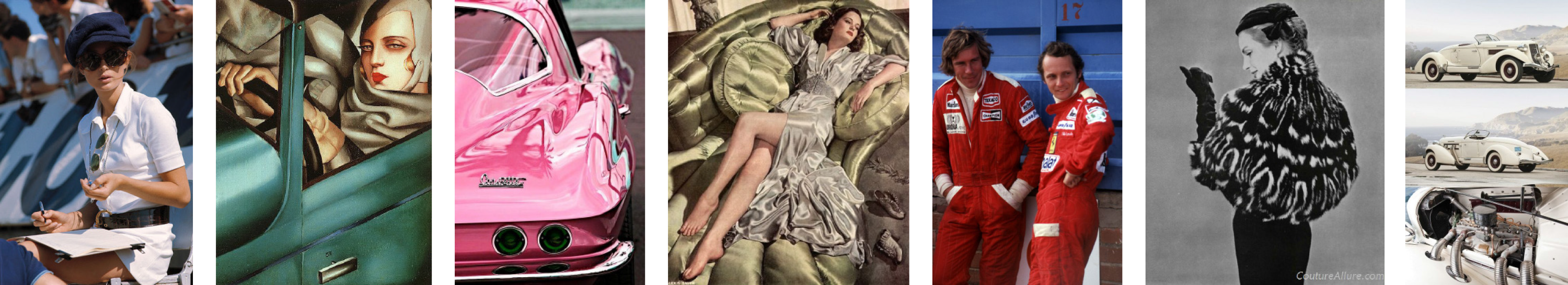 """the title """"GEAR"""" in a motorsports inspired font, above fake sponsor logos designed by Nina Britschgi, in the background Tamara de Lempicka's 1929 painting """"Autoportrait"""", a self portrait of her wearing a grey cap while sitting in a green Bugatti."""