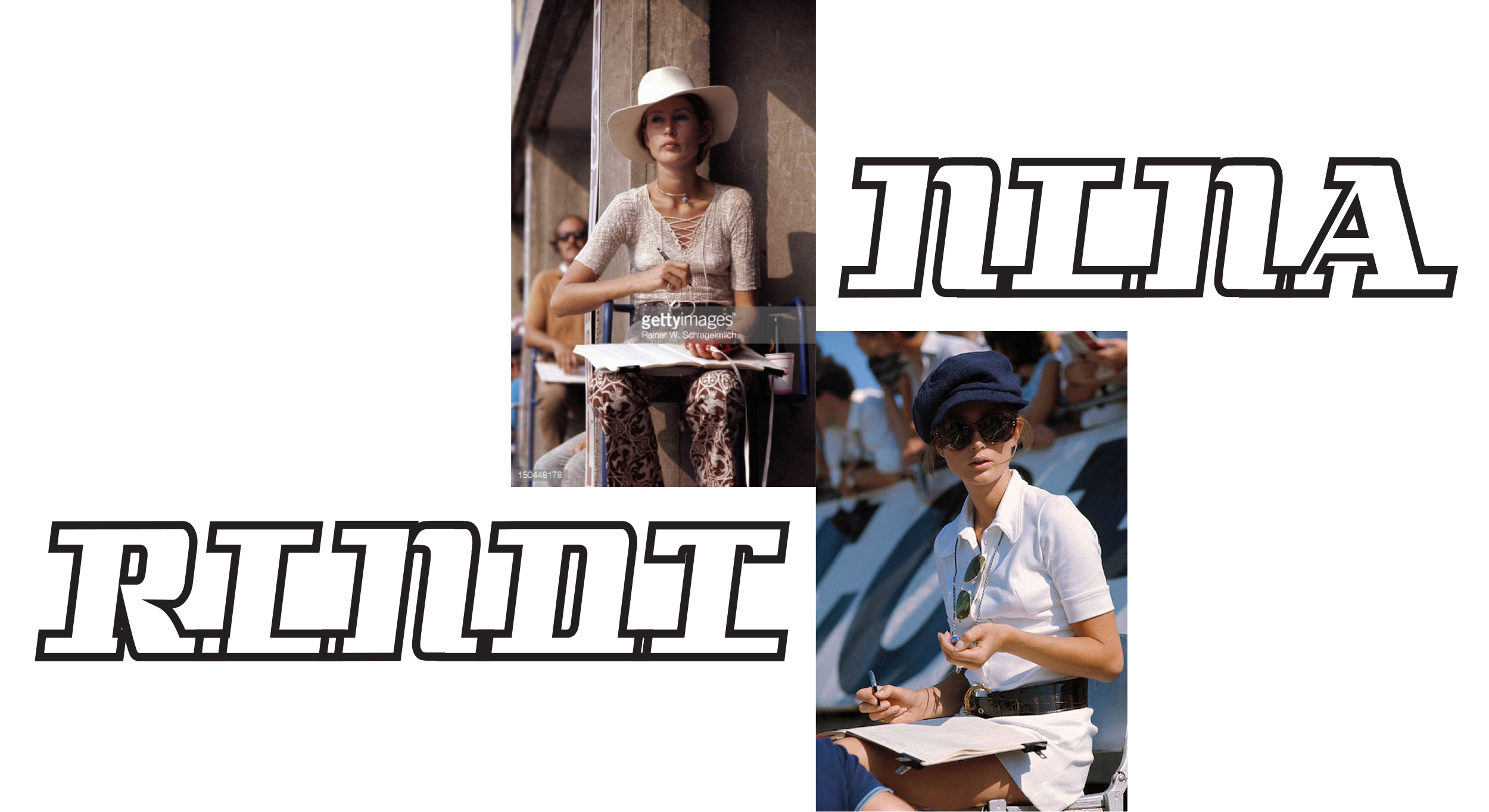 Two images of Nina Rindt sitting track-side with her clipboard and stopwatch