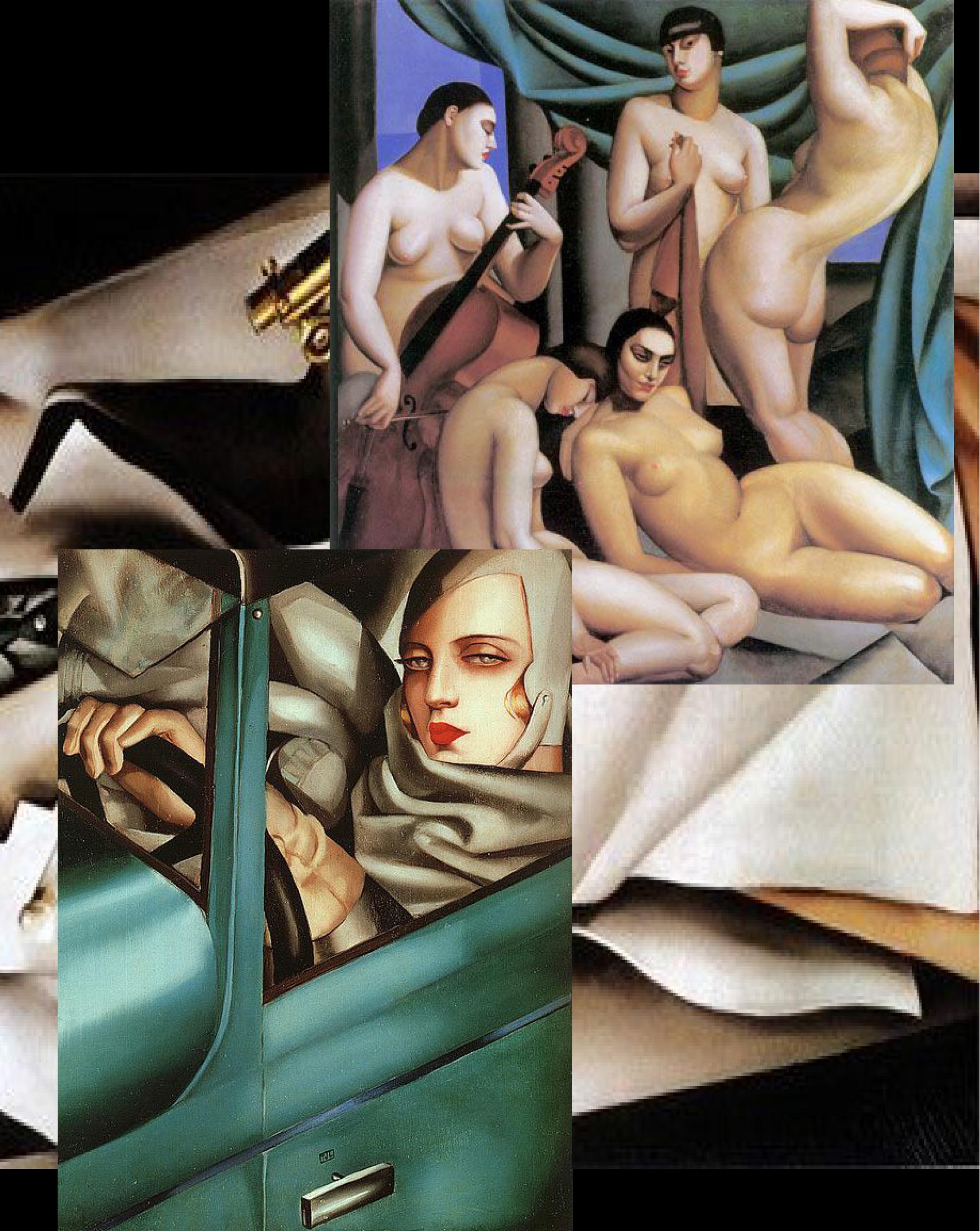 "a collage of 3 Tamara de Lempicka paintings: ""Auto-Portrait"", 1929, ""Doctor Boucard"", 1929, and ""Rhythm"", 1924."
