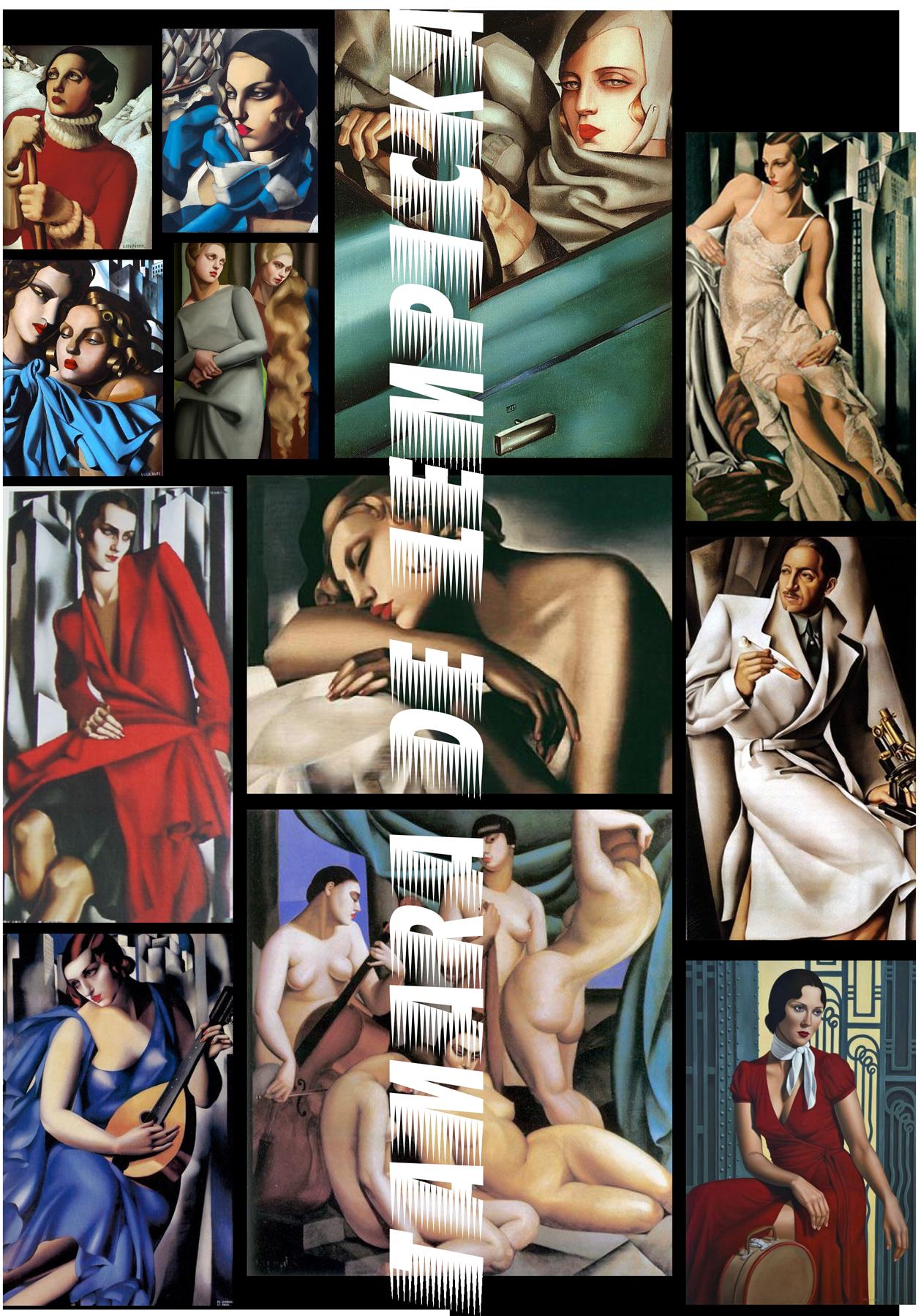 a moodboard of tamara de lempicka paintings.