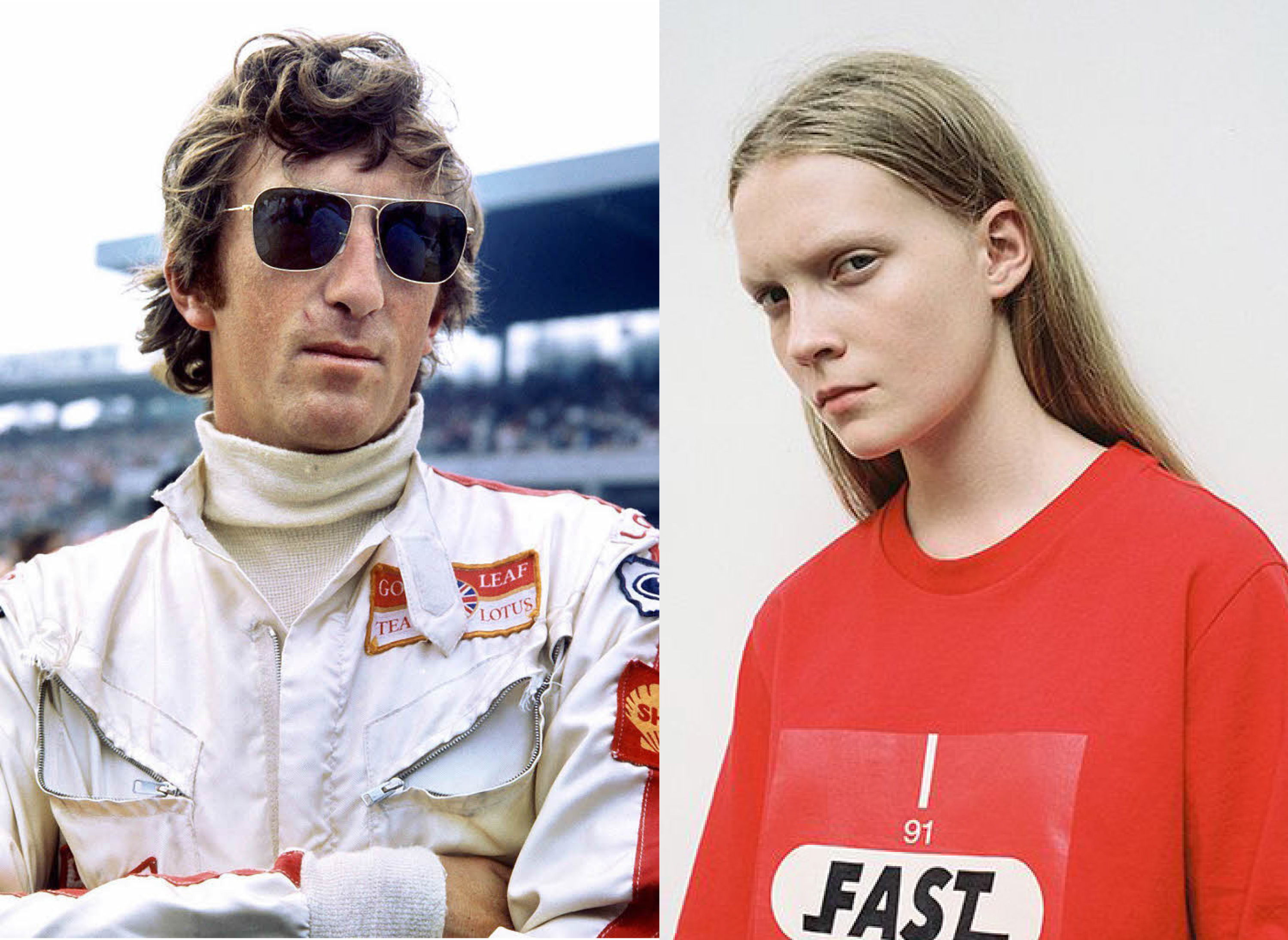 Jochen Rindt in his racing Overall with sponsor patches attached vis a vis a Model in a motorsport inspired red T-shirt