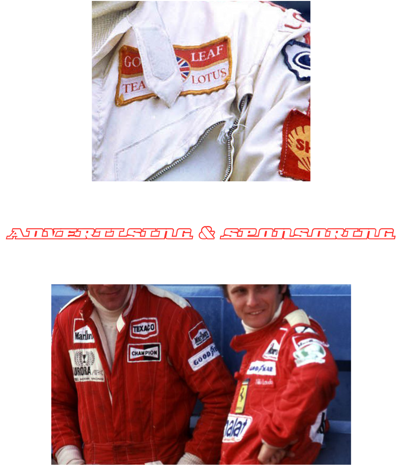 2 close-up images of sponsor logos on racing overalls