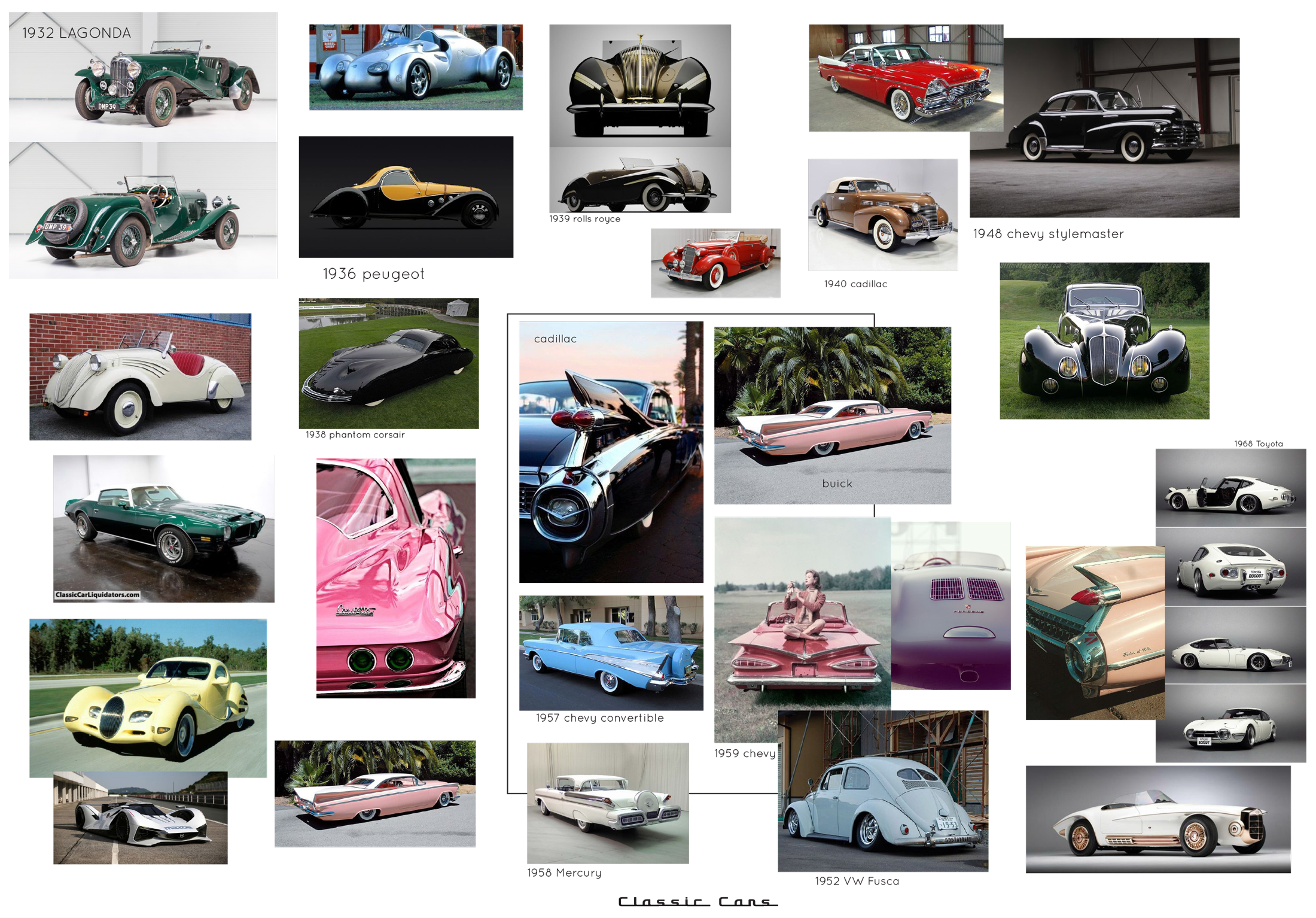 classic / vintage car inspiration and research  moodboard