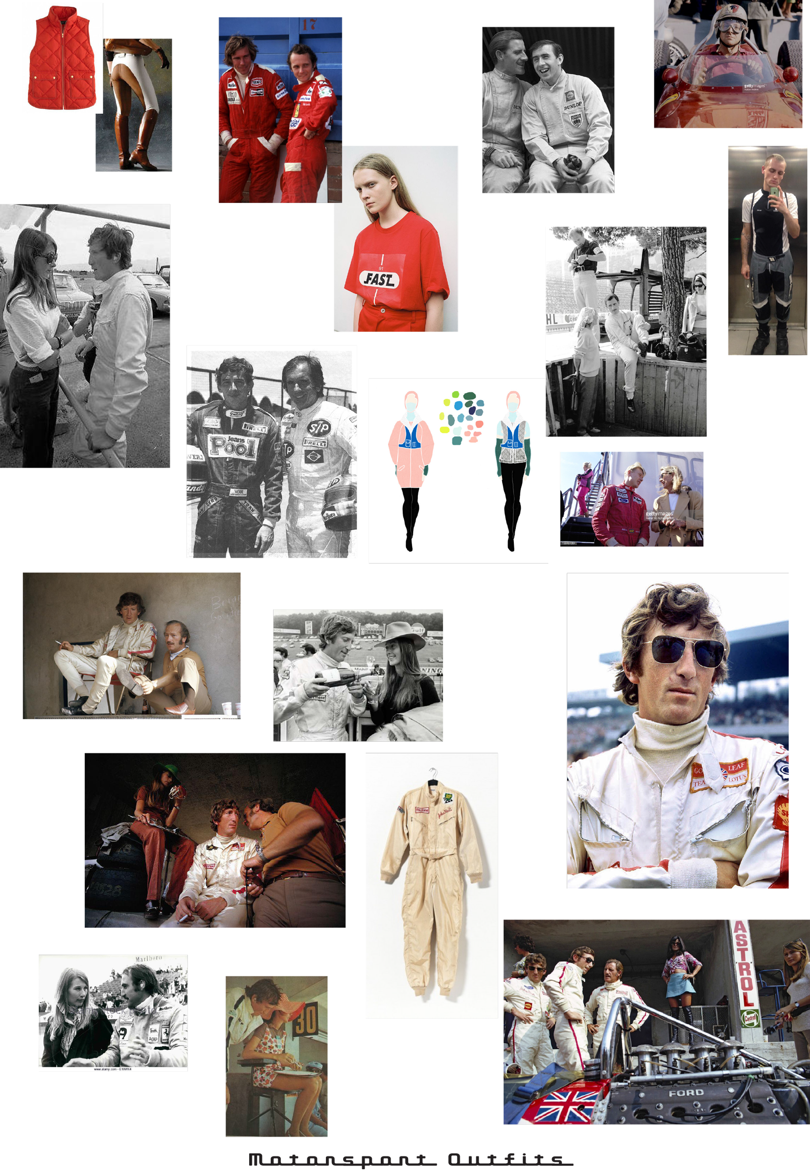 a mood board of motorsport outfit inspiration - mainly overalls with sponsor logos on them