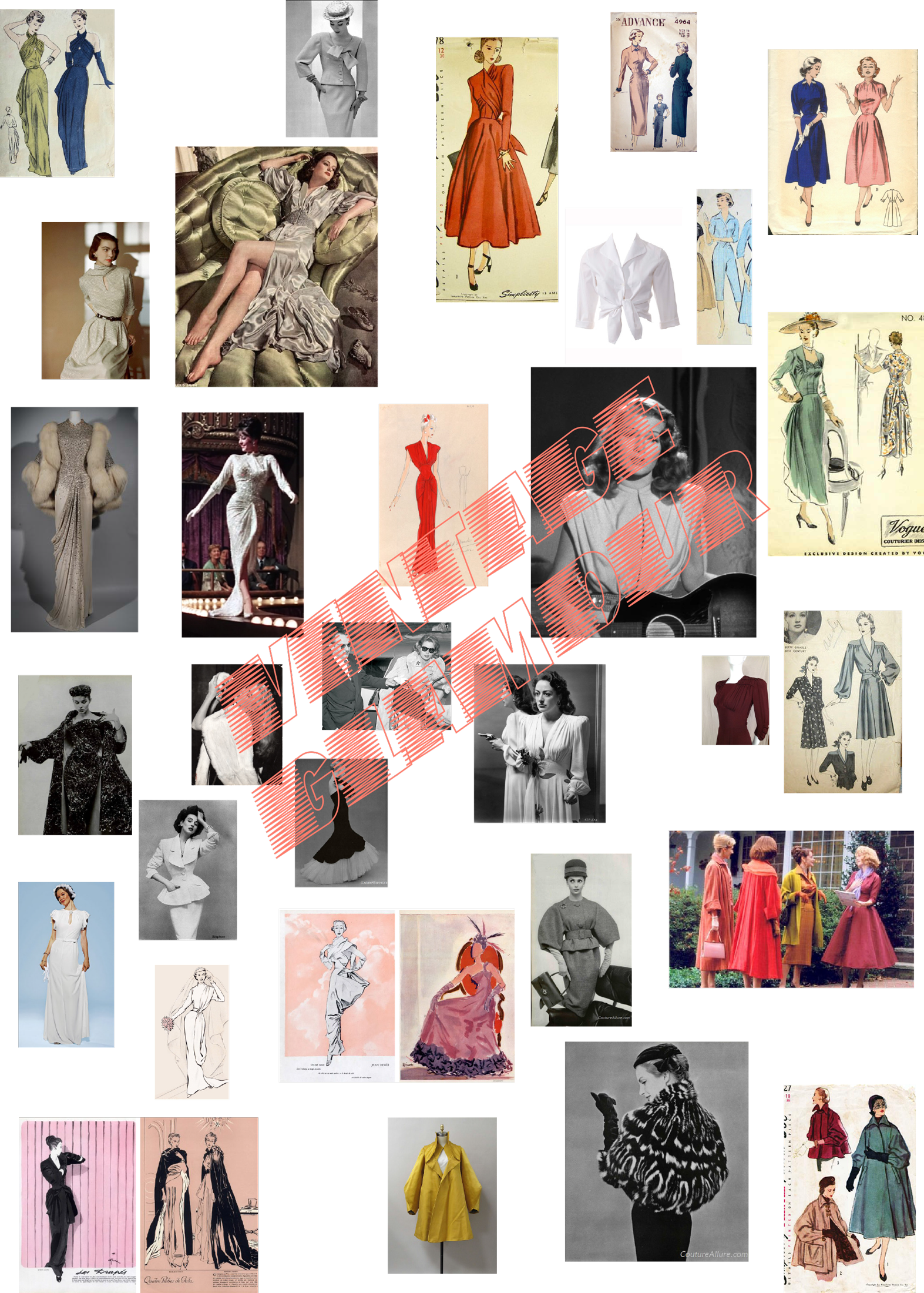 a mood board of glamorous vintage fashion inspiration