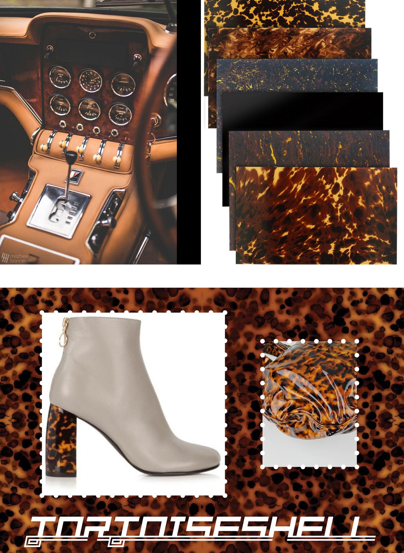 car interior materials inspiration: a mood board of tortoiseshell samples
