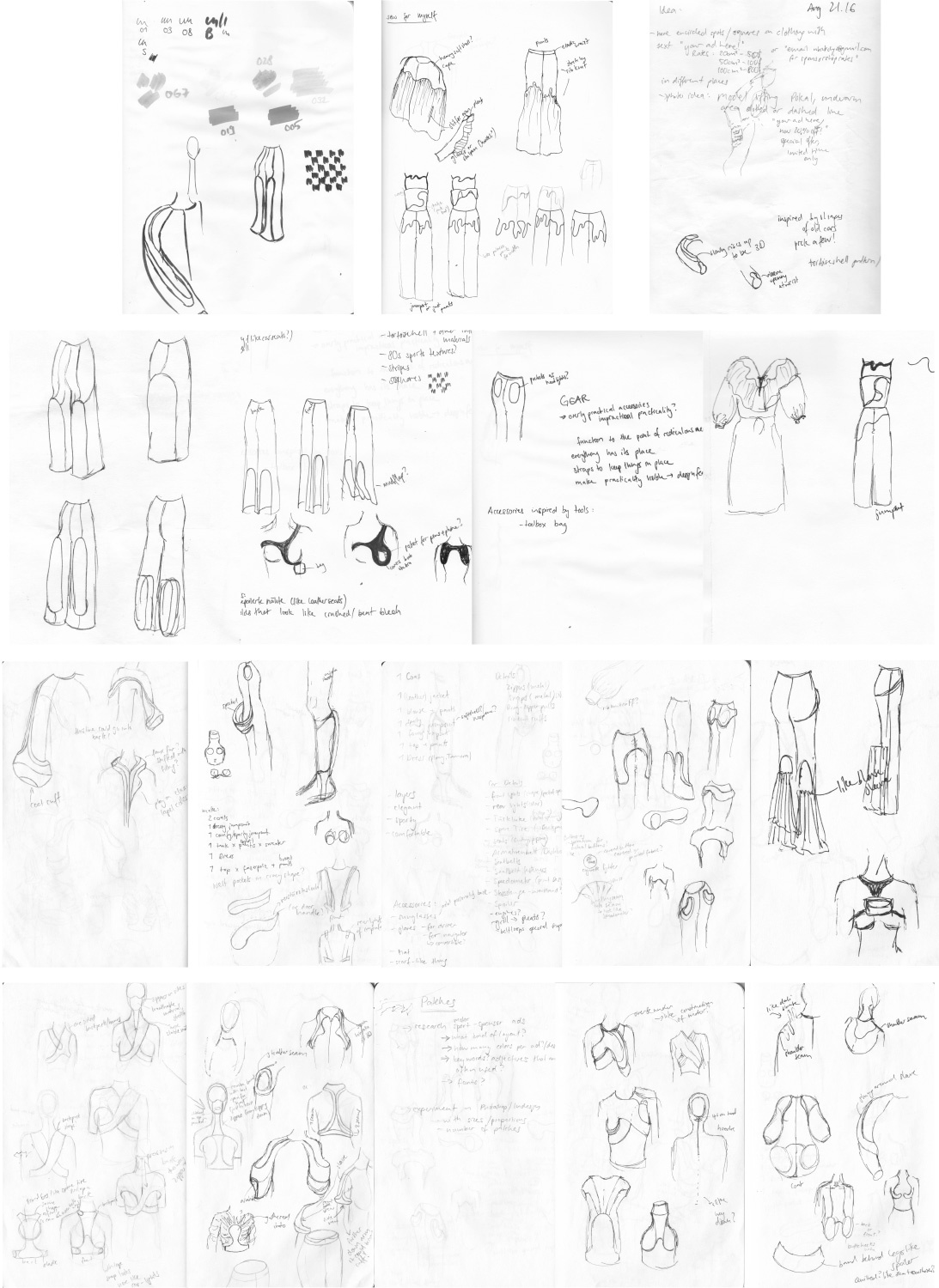 a collection of early sketches