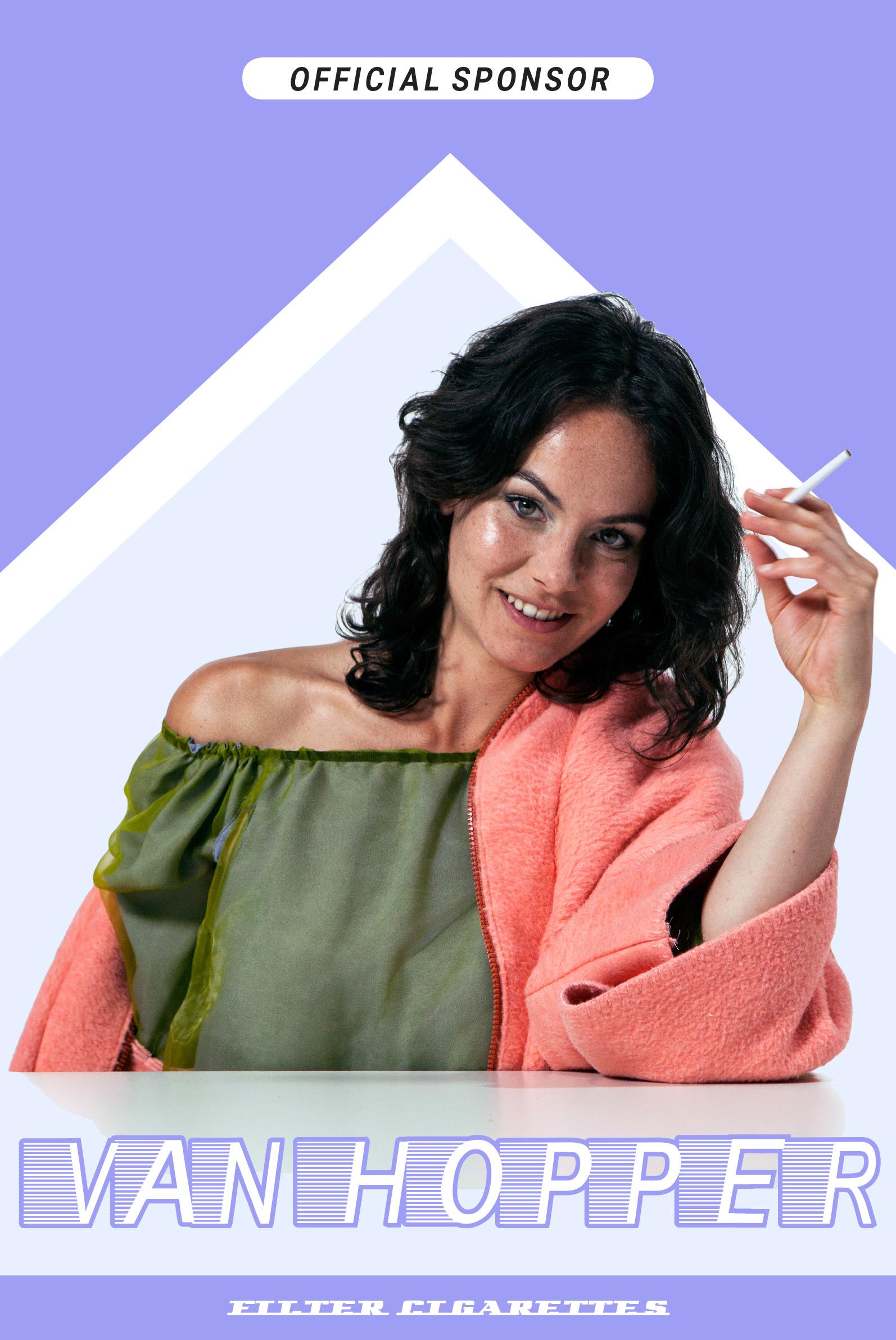 Van Hopper cigarettes, official sponsor fake advertising, Nina Britschgi