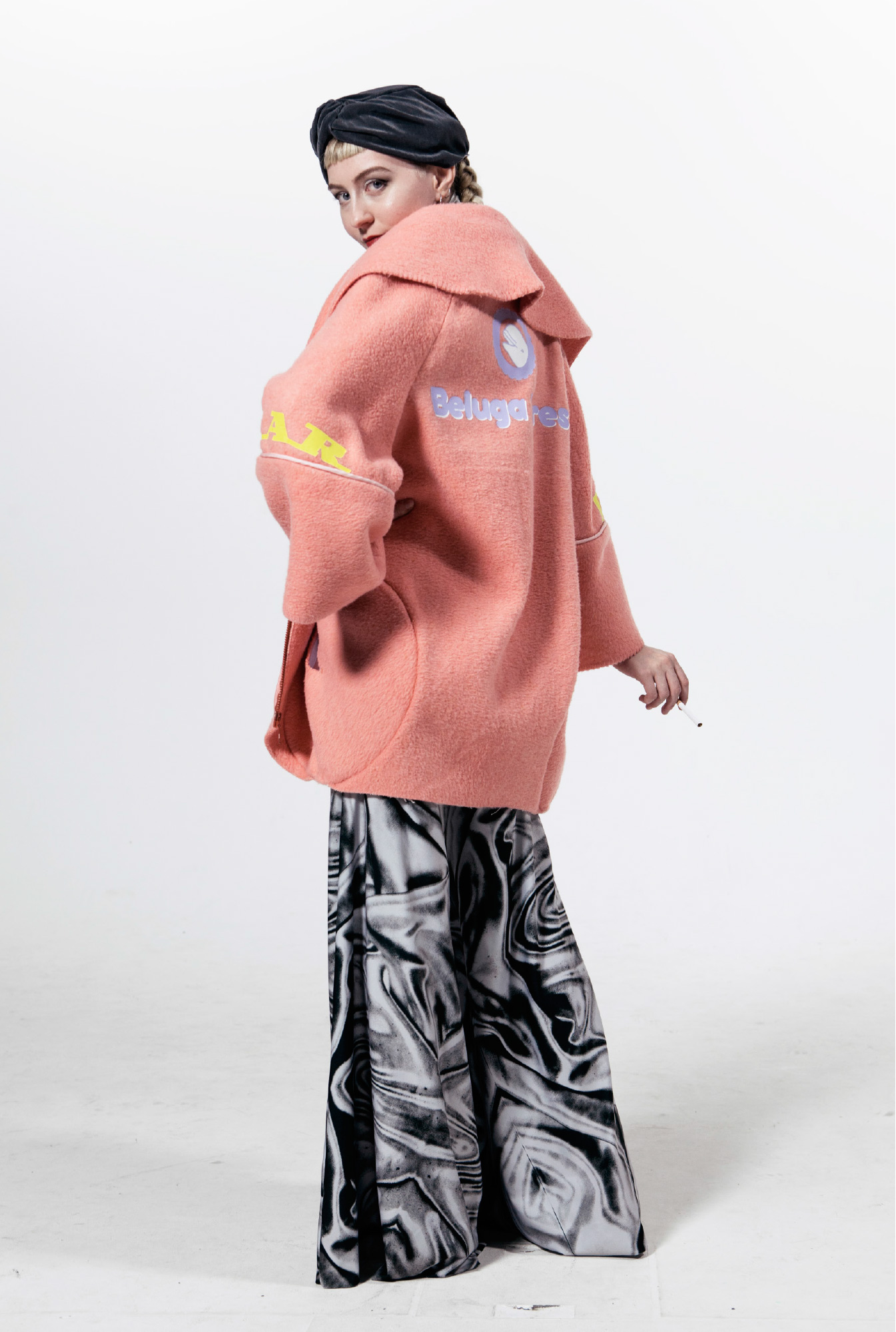 Blanket Coat with Beluga Tires logo on back