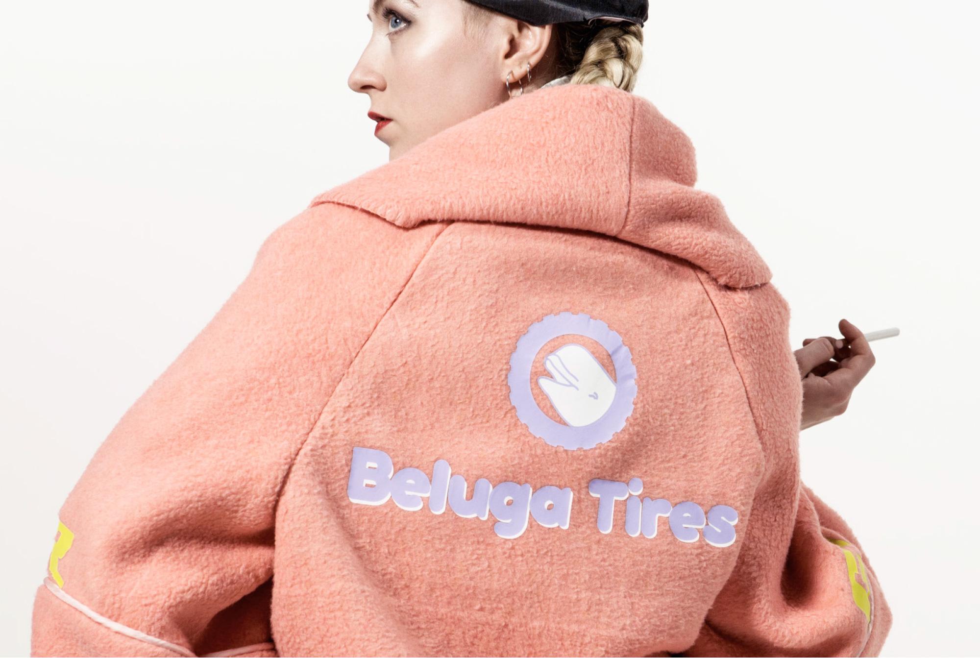 Blanket coat rear-view with Beluga Tires logo (vinyl transfer)
