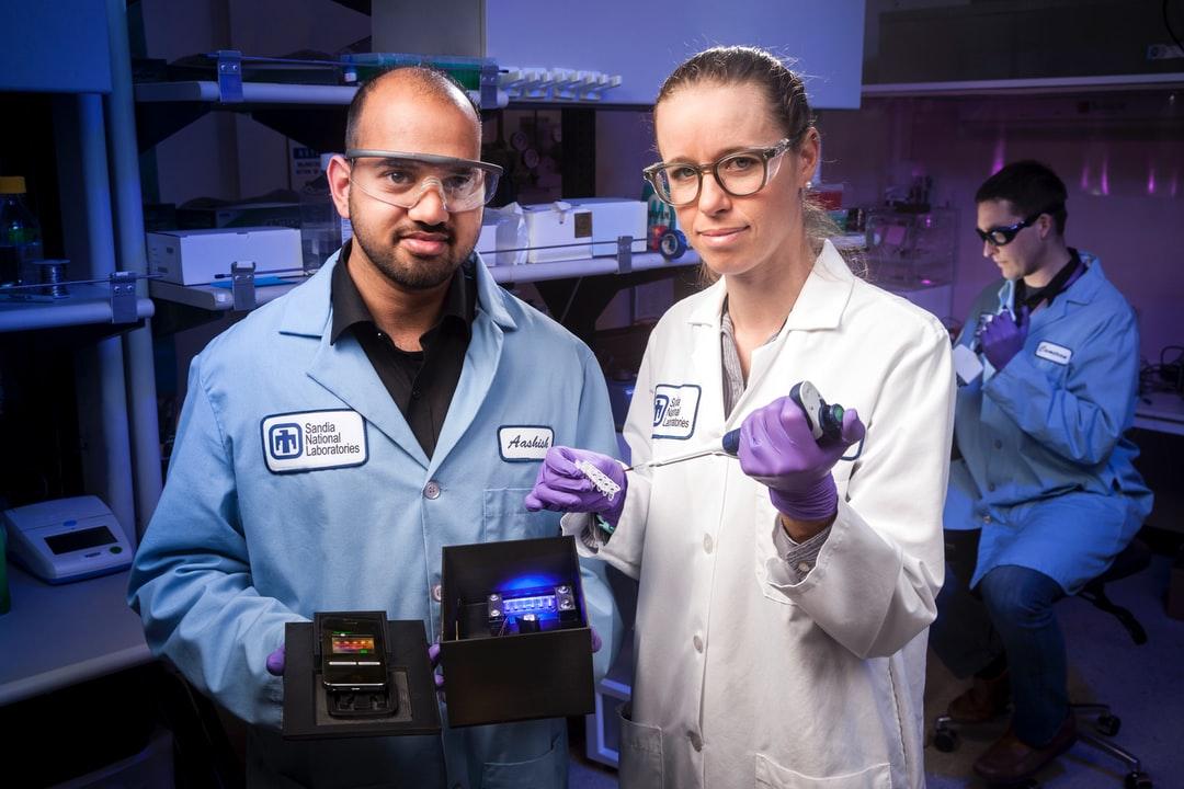 Two lab technicians